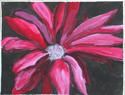 Student project painted with complimentary colors of red and green